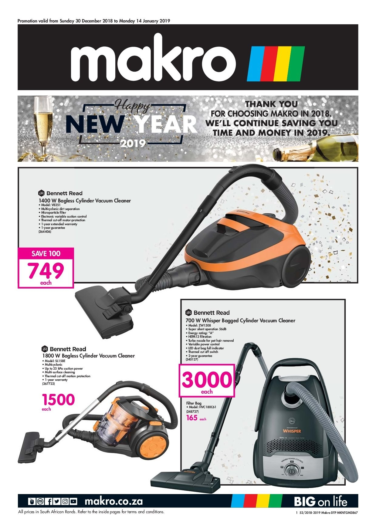 Makro special - 12.30.2018 - 01.14.2019 - Sales products - bag, surface, switch, vacuum, vacuum cleaner, hair removal, pet. Page 1.
