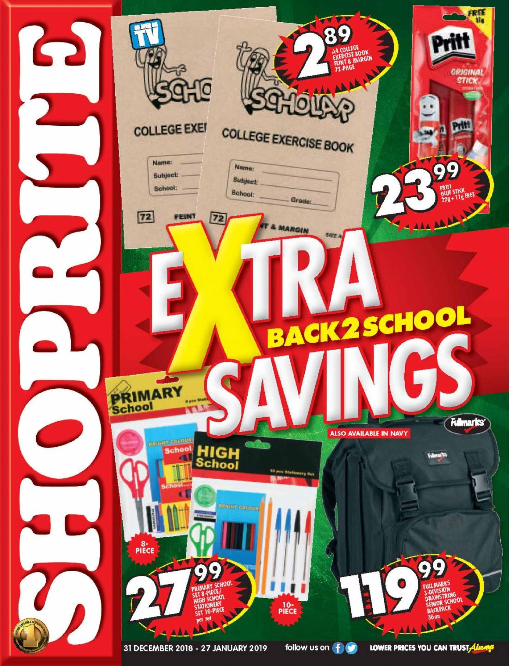 Shoprite special - 12.31.2018 - 01.27.2019 - Sales products - backpack, stick, pet. Page 1.