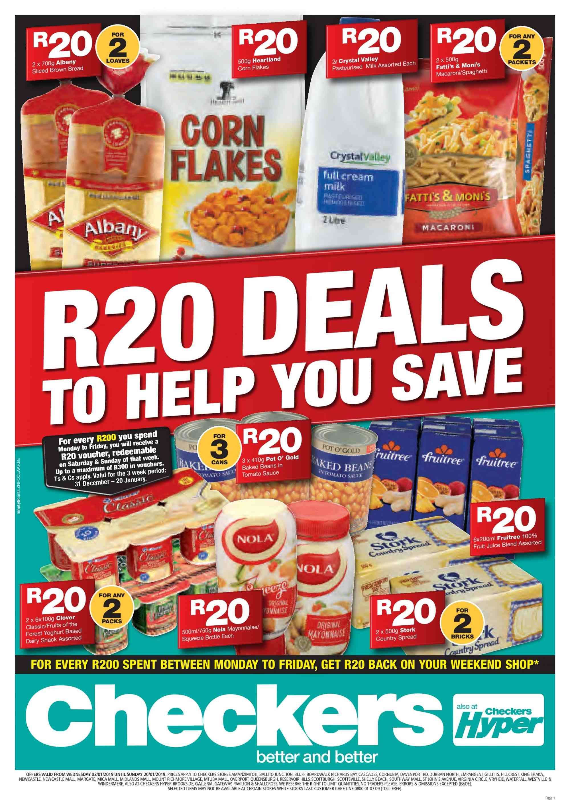 Checkers special - 01.02.2019 - 01.20.2019 - Sales products - beans, bottle, bread, corn, cream, mayonnaise, milk, spaghetti, pot, macaroni, snack, yoghurt, corn flakes. Page 1.