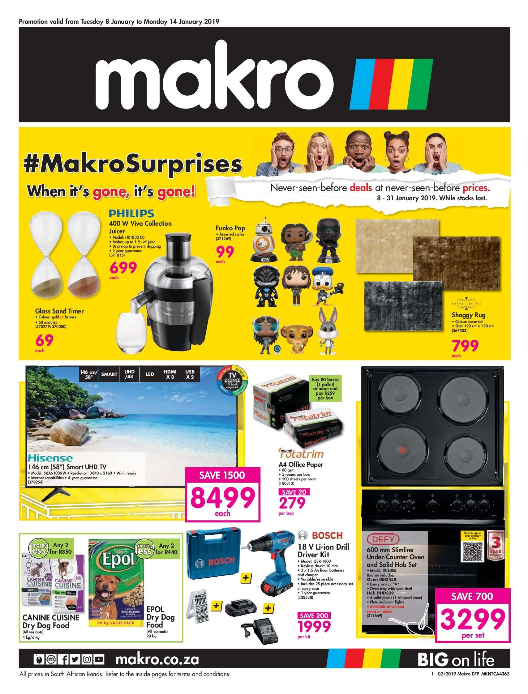 Makro special - 01.08.2019 - 01.14.2019 - Sales products - animal food, bosch, dog food, collection, glass, rug, solid, timer, uhd tv, philips, oven,  paper. Page 1.