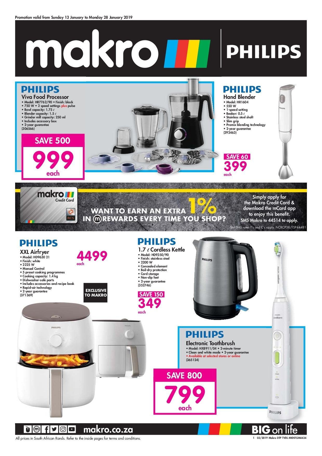 Makro special - 01.13.2019 - 01.28.2019 - Sales products - accessories, blender, bowl, box, dishwasher, safe, stainless, storage, timer, toothbrush, philips, processor, grinder, kettle, food processor. Page 1.