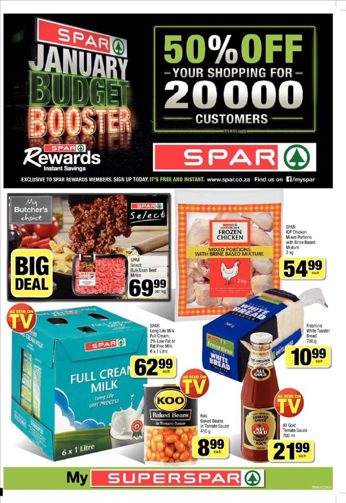 SPAR special - 01.21.2019 - 02.03.2019 - Sales products - beans, beet, bread, cream, milk, tomato sauce, chicken, toaster, sauce. Page 1.