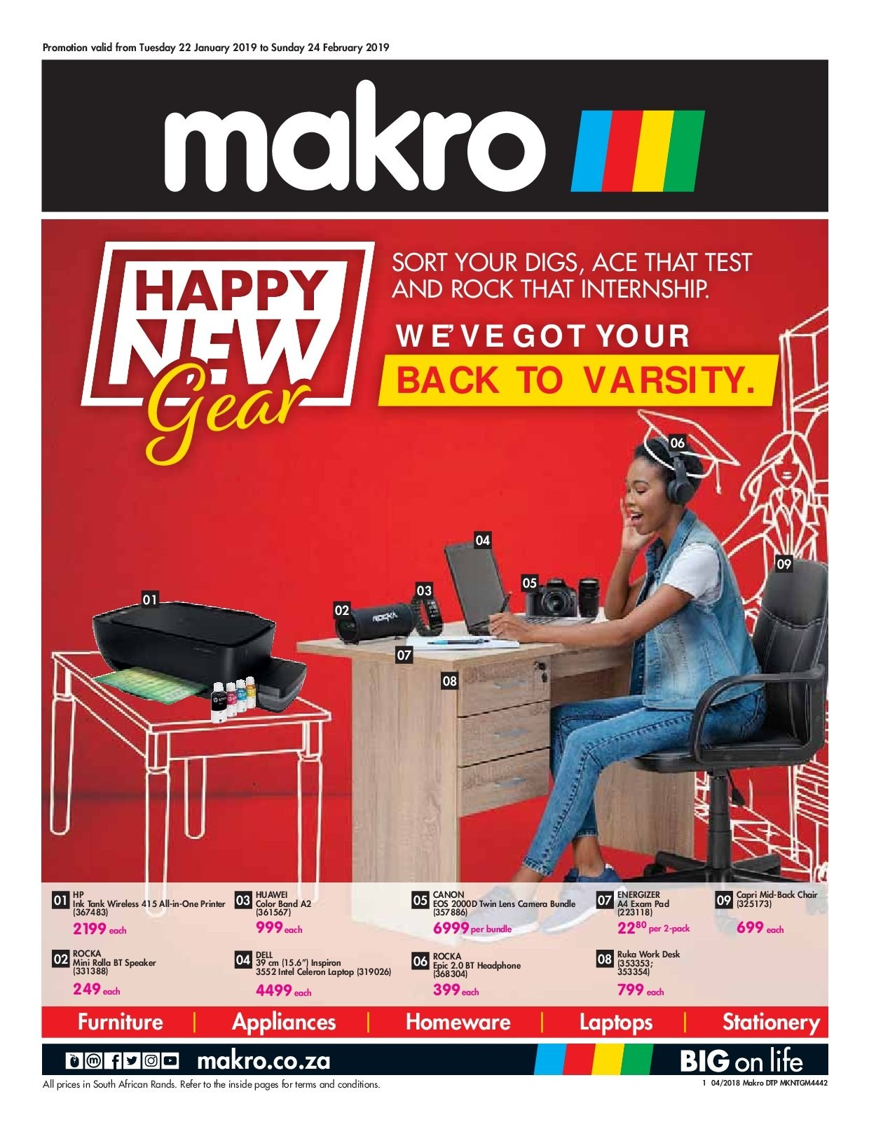 Makro special - 01.22.2019 - 02.24.2019 - Sales products - all-in-one printer, band, desk, energizer, furniture, laptop, lens, speaker, hp, huawei, chair, intel, printer, wireless, pad. Page 1.