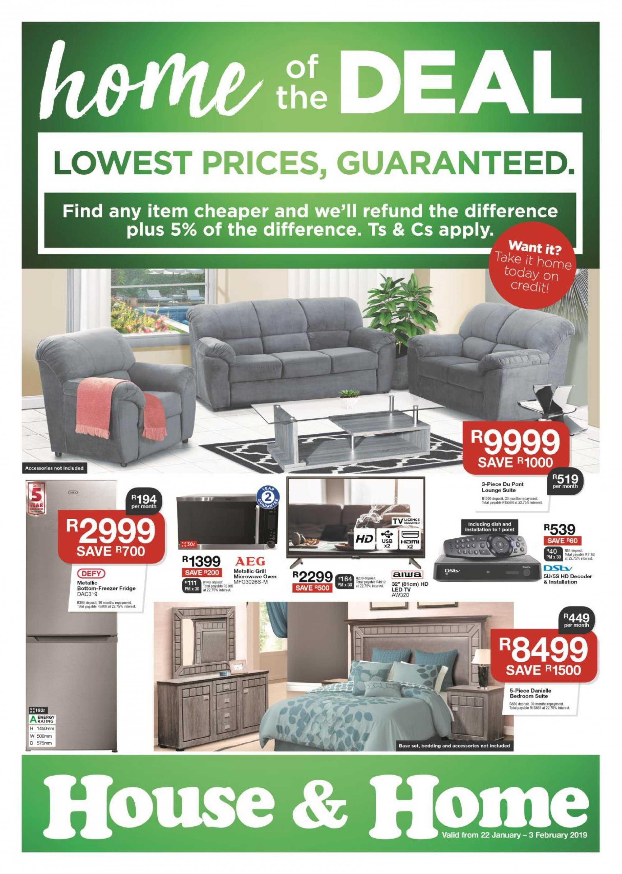 House & Home special - 01.22.2019 - 02.03.2019 - Sales products - aeg, bedding, bottom, freezer, grill, led tv, microwave, fridge, oven. Page 1.