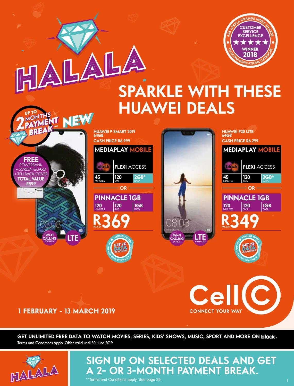 Cell C special - 02.01.2019 - 03.13.2019 - Sales products - lte, watch, huawei. Page 1.