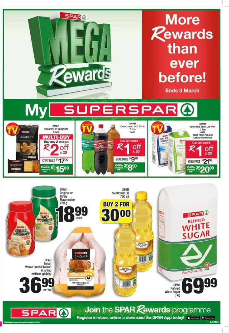 SPAR special - 02.05.2019 - 02.17.2019 - Sales products - bag, sugar, chicken, macaroni. Page 1.