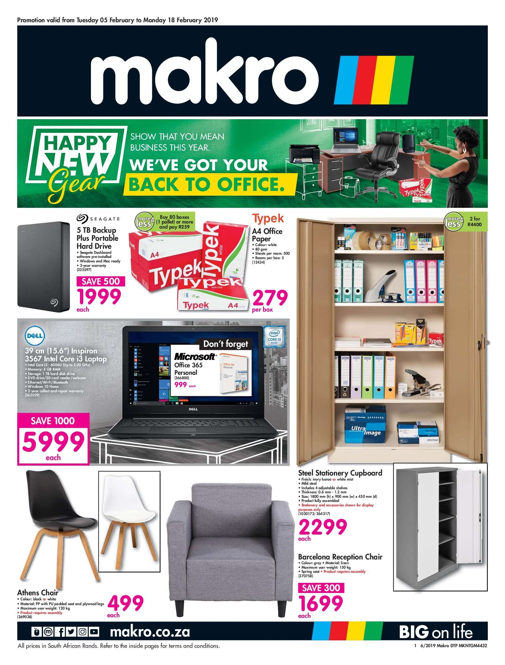 Makro special - 02.05.2019 - 02.18.2019 - Sales products - doll, dvd, laptop, microsoft, shelf, shelves, webcam, wifi, windows, hard drive, chair, intel, plywood, portable hard drive, seagate. Page 1.