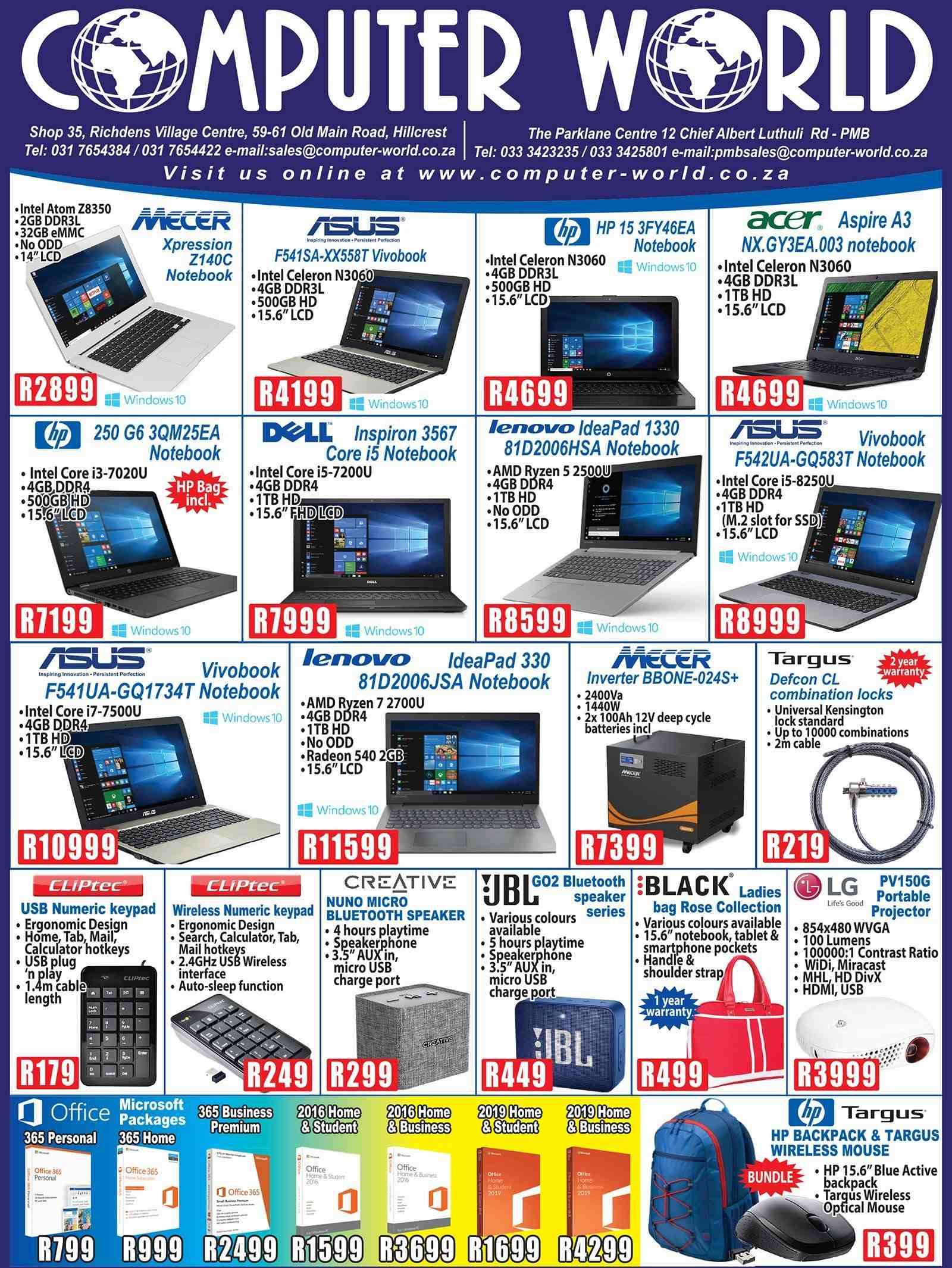 Computer World special - 02.11.2019 - 02.18.2019 - Sales products - acer, amd, backpack, bag, bluetooth, collection, lenovo, lg, microsoft, mouse, radeon, speaker, tablet, windows, hp, intel, notebook, wireless, ryzen, smartphone, bluetooth speaker, calculator. Page 1.