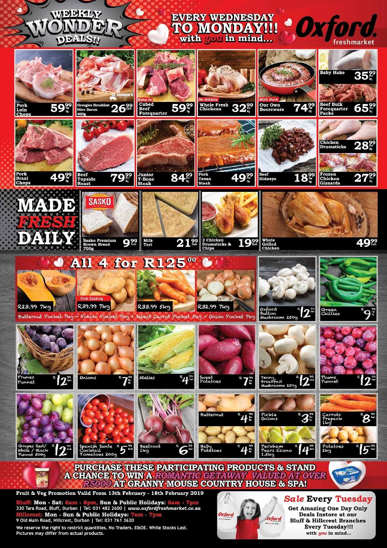 Oxford Freshmarket special - 02.13.2019 - 02.18.2019 - Sales products - bacon, beef meat, frozen, milk, mouse, pork meat, ps+, chicken, onions, tart, hake. Page 1.
