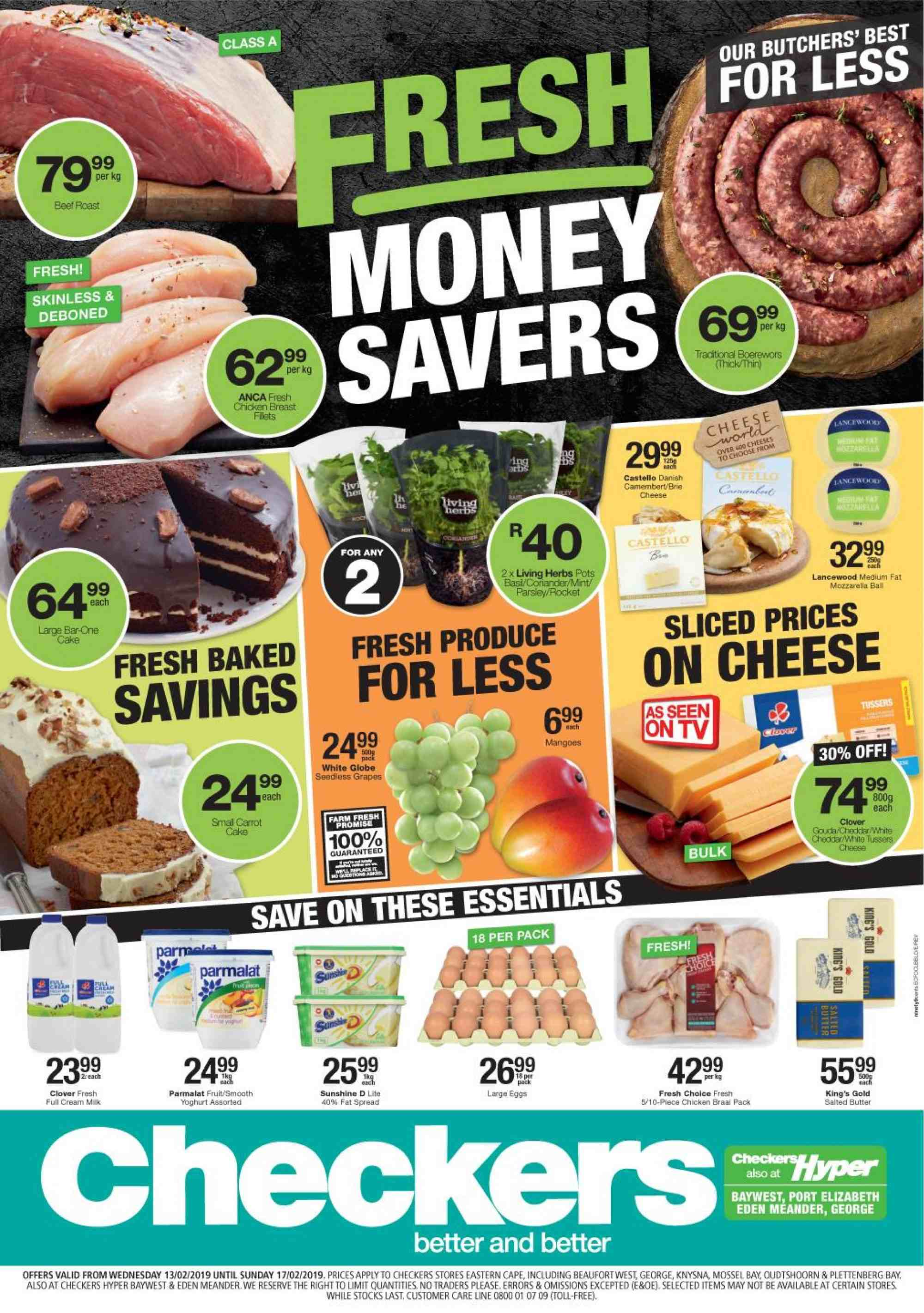 Checkers special - 02.13.2019 - 02.17.2019 - Sales products - butter, cream, gouda, milk, mint, mozzarella, rocket, chicken, parsley, yoghurt, herbs, cheese, cake. Page 1.