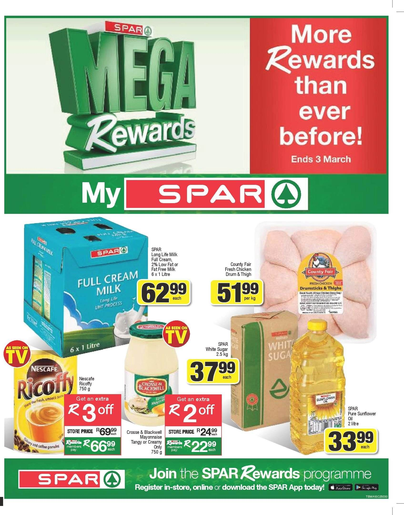 SPAR special - 02.18.2019 - 03.03.2019 - Sales products - cream, mayonnaise, milk, sugar, chicken. Page 1.