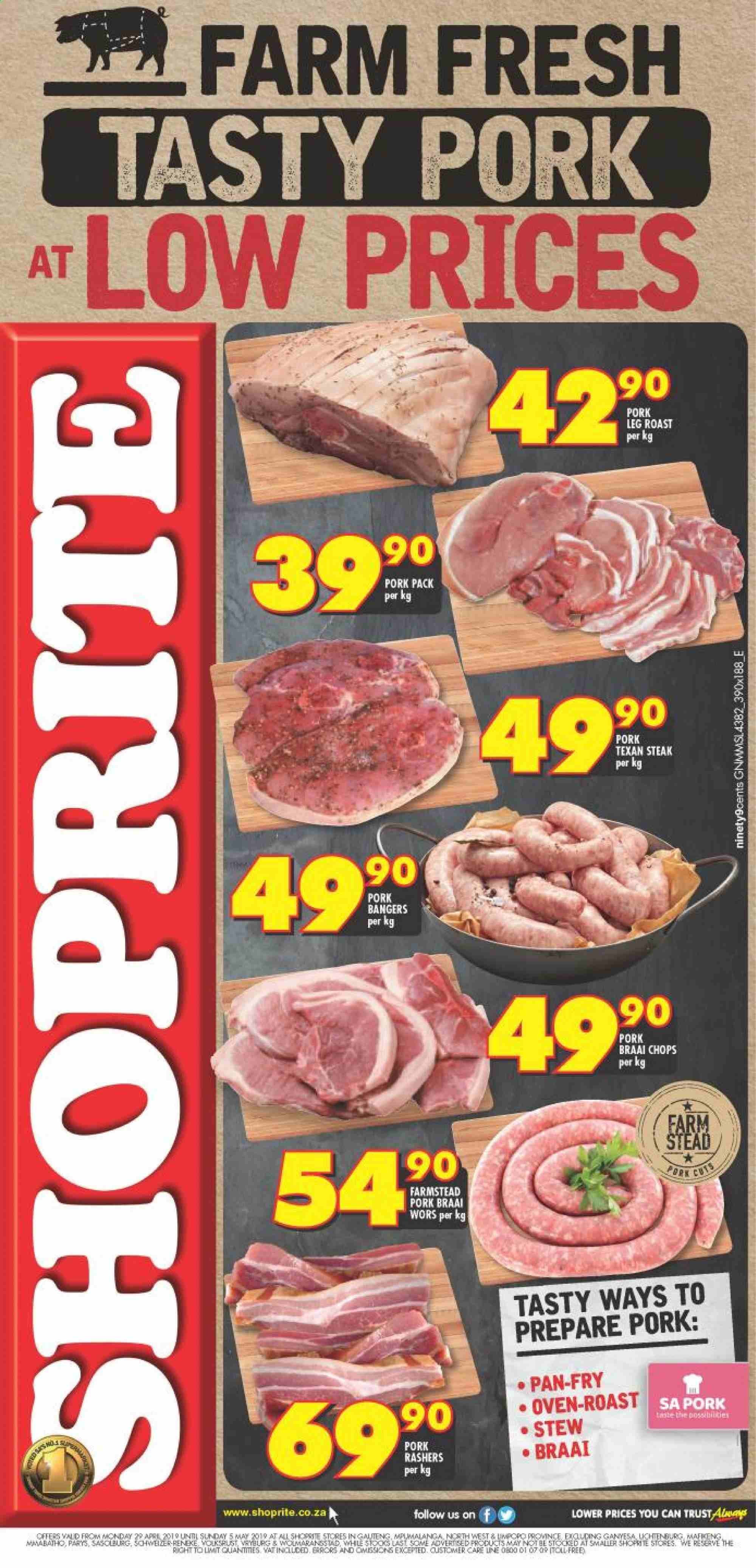 Shoprite special - 04.29.2019 - 05.05.2019 - Sales products - pork meat, pan, oven, steak, bangers. Page 1.