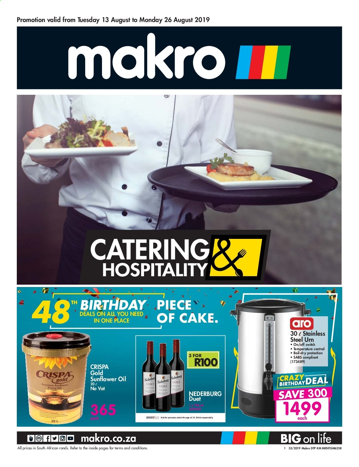 Makro special - 08.13.2019 - 08.26.2019 - Sales products - sunflower oil, switch, cake, drink, sunflower, oil. Page 1.