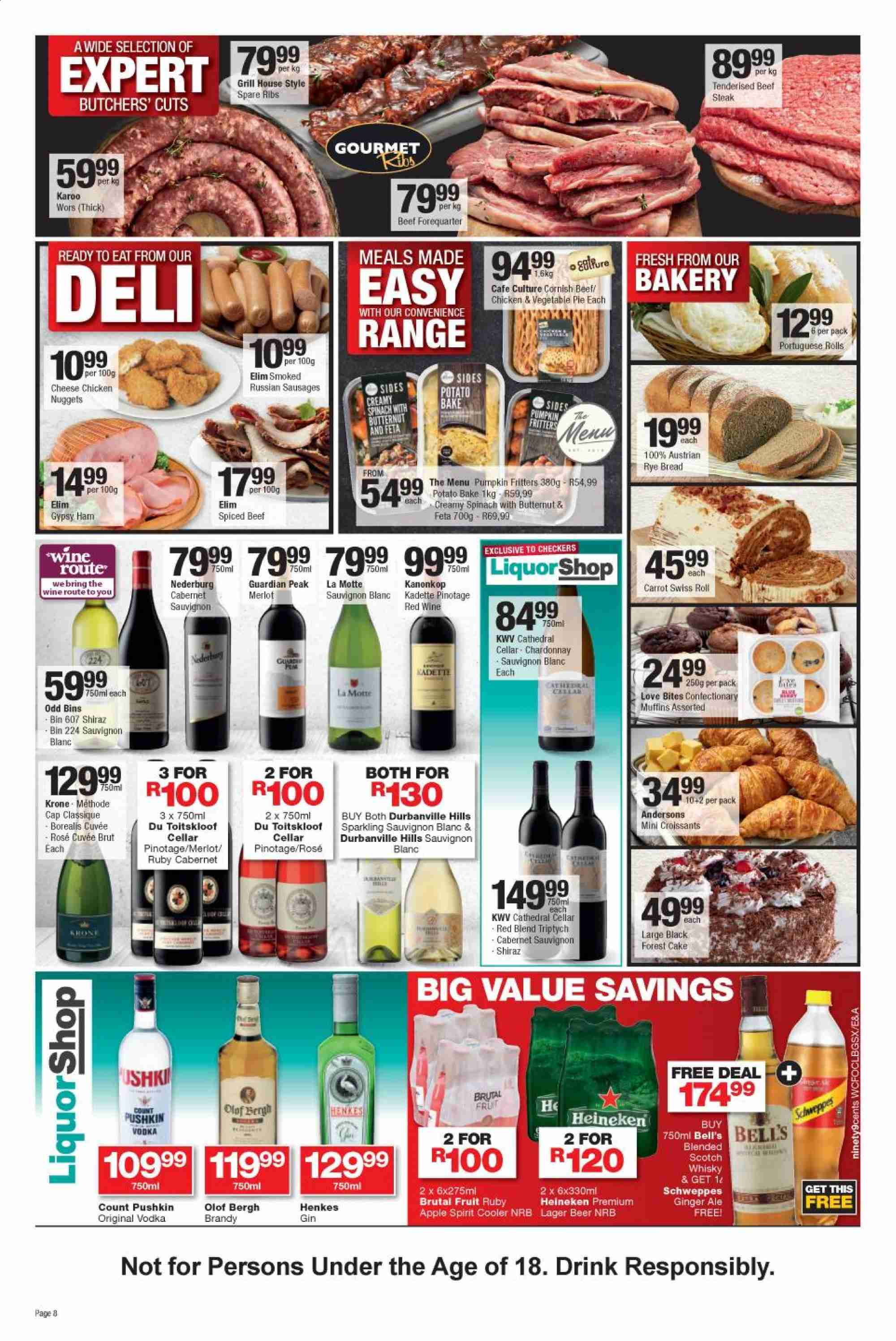 Checkers special - 08.21.2019 - 09.08.2019 - Sales products - ale, apple, beef meat, beef steak, beer, bin, brandy, bread, butternut squash, cabernet sauvignon, cap, croissants, feta, gin, ginger, ginger ale, grill, muffins, red wine, sausages, schweppes, spinach, vodka, whisky, ham, pumpkin, chardonnay, chicken, pork spare ribs, steak, pie, vegetable, nuggets, cooler, wine, cheese, ribs, cake, drink, bites, merlot, cabernet, fruit, heineken, swiss roll, rolls. Page 8.