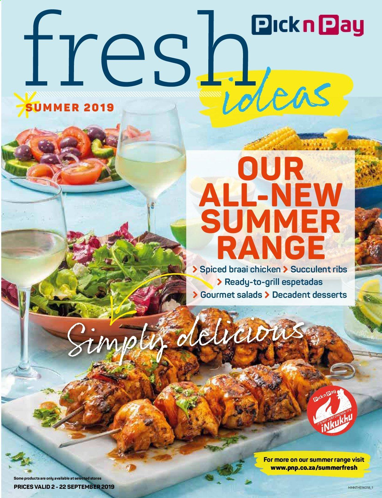 Pick n Pay special - 09.02.2019 - 09.22.2019 - Sales products - blueberries, cream, grill, strawberries, vegan, whipped cream, ice cream, chicken, chocolate, cheesecake, berry, ribs, fruit. Page 1.