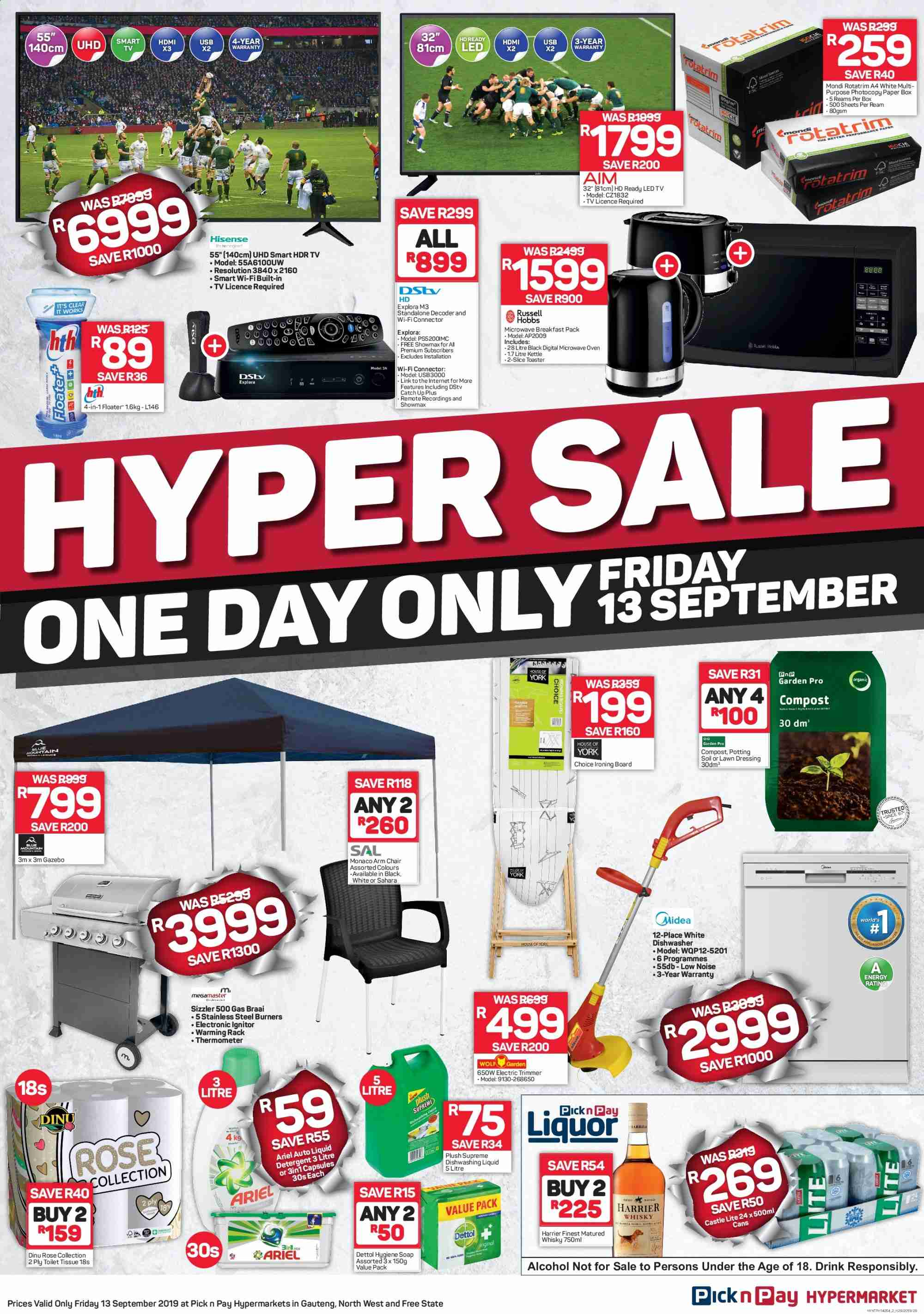 Pick n Pay special - 09.13.2019 - 09.13.2019 - Sales products - arm chair, capsules, dishwasher, led tv, microwave oven, rack, smart tv, thermometer, trimmer, whisky, wifi, hd ready, hdmi, chair, ps+, oven, dressing, toaster, ironing board, kettle, dettol, ariel, board, dishwashing liquid, toilet tissue, drink, decoder, gazebo, breakfast pack, toilet. Page 1.