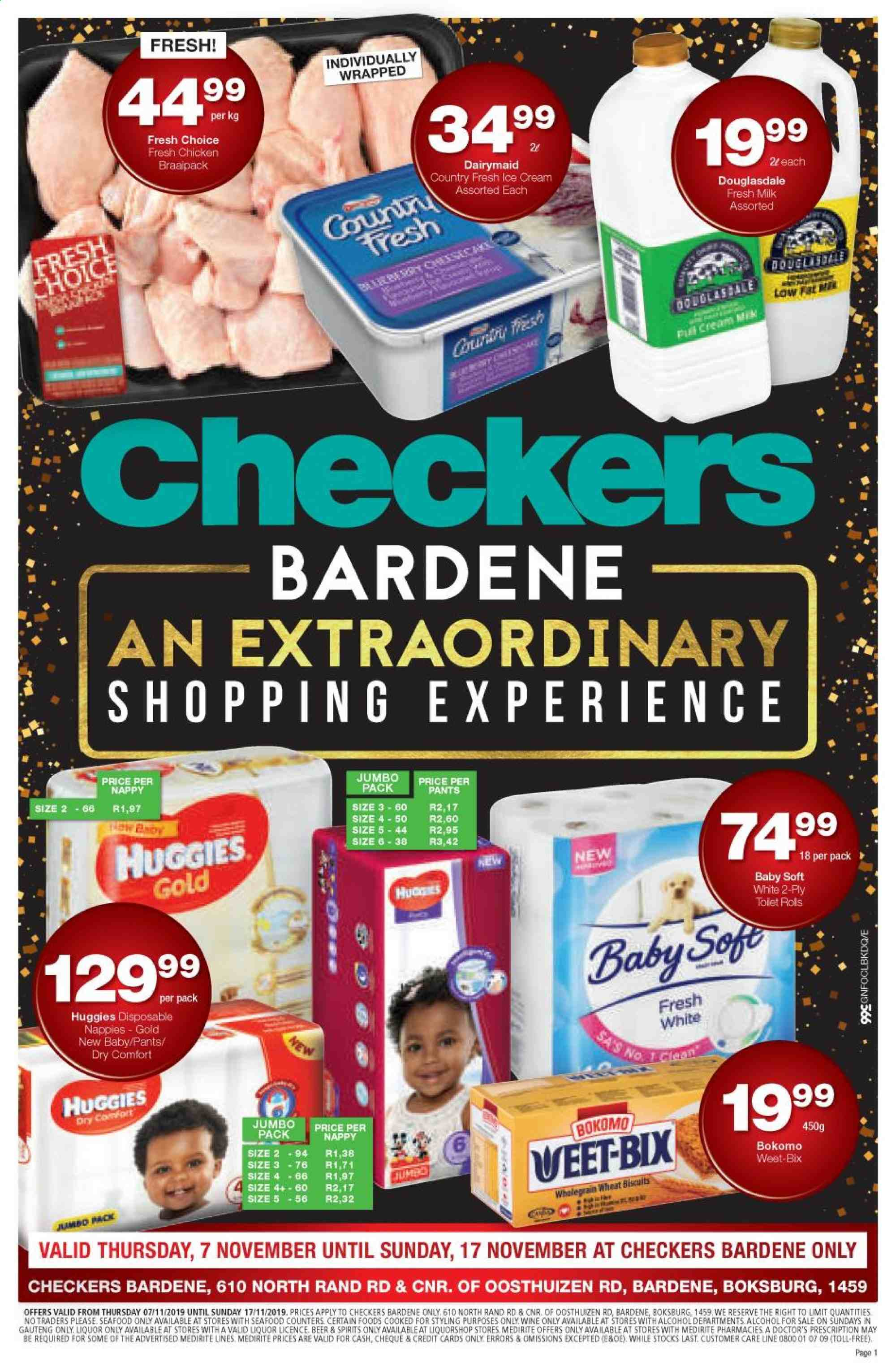 Checkers special - 11.07.2019 - 11.17.2019 - Sales products - beer, biscuits, cream, milk, huggies, chicken, pants, seafood, wine, liquor, weet-bix, nappies, diapers. Page 1.
