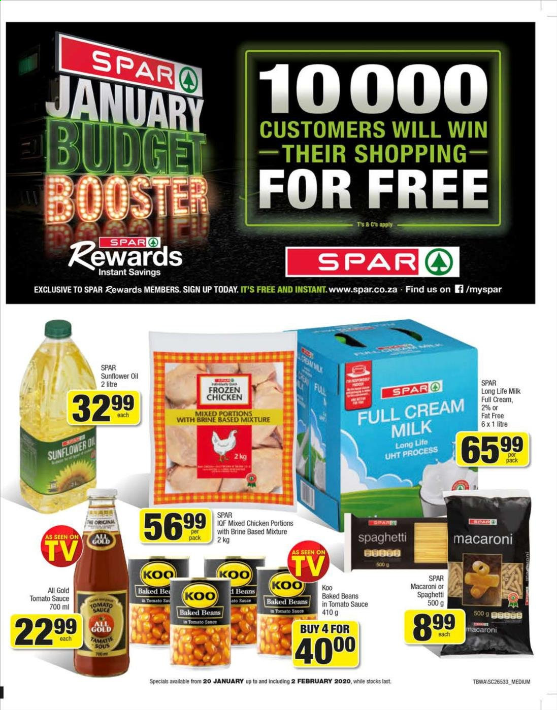 SPAR special - 01.20.2020 - 02.02.2020 - Sales products - beans, cream, milk, spaghetti, sunflower oil, tomato sauce, chicken, macaroni, sauce, sunflower, long life milk. Page 1.