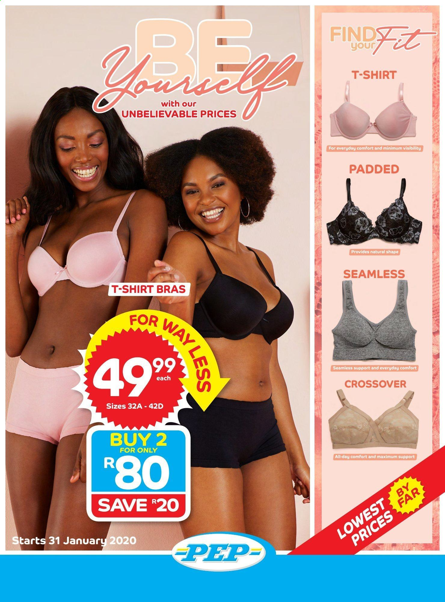 PEP Stores catalogue  - 01.31.2020 - 02.28.2020 - Sales products - t-shirt, bra. Page 1.