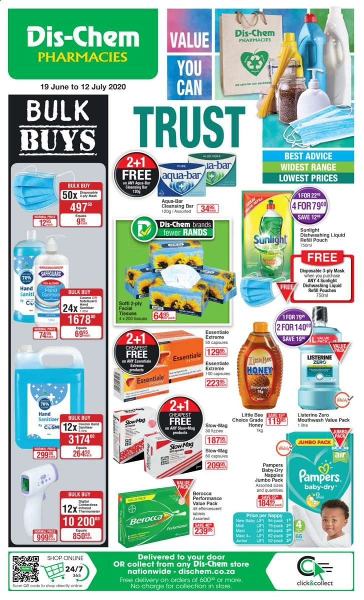 Dis-Chem catalogue  - 06.19.2020 - 07.12.2020 - Sales products - capsules, facial tissues, listerine, mask, honey, pampers, dishwashing liquid, mouthwash, tissues, refill, tablets, nappies, diapers, doors, hand sanitizer. Page 1.