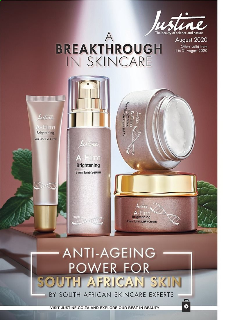Justine catalogue  - 08.01.2020 - 08.31.2020 - Sales products - day cream, serum, night cream. Page 1.