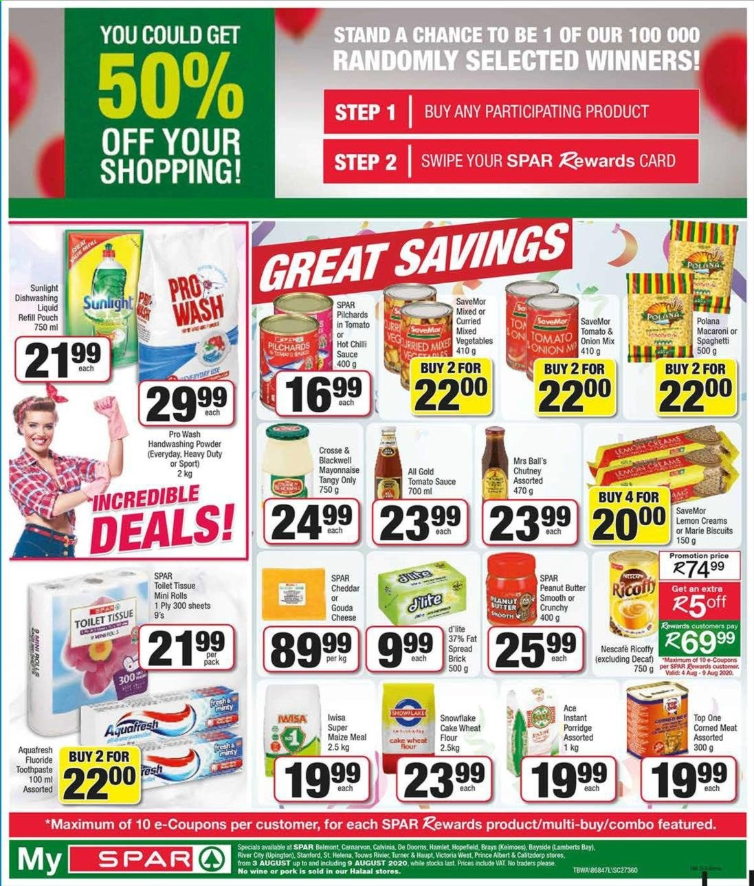 SPAR catalogue  - 08.03.2020 - 08.09.2020 - Sales products - biscuits, flour, gouda, mayonnaise, snowflake, spaghetti, tomato sauce, turner, wheat flour, pork meat, cheddar, peanut butter, macaroni, vegetable, toothpaste, fat spread, wine, pilchards, cheese, ricoffy, dishwashing liquid, sauce, porridge, toilet tissue, refill, rolls, meat, nescafé, cake wheat flour, onion, vegetables, lemon, tomato. Page 1.