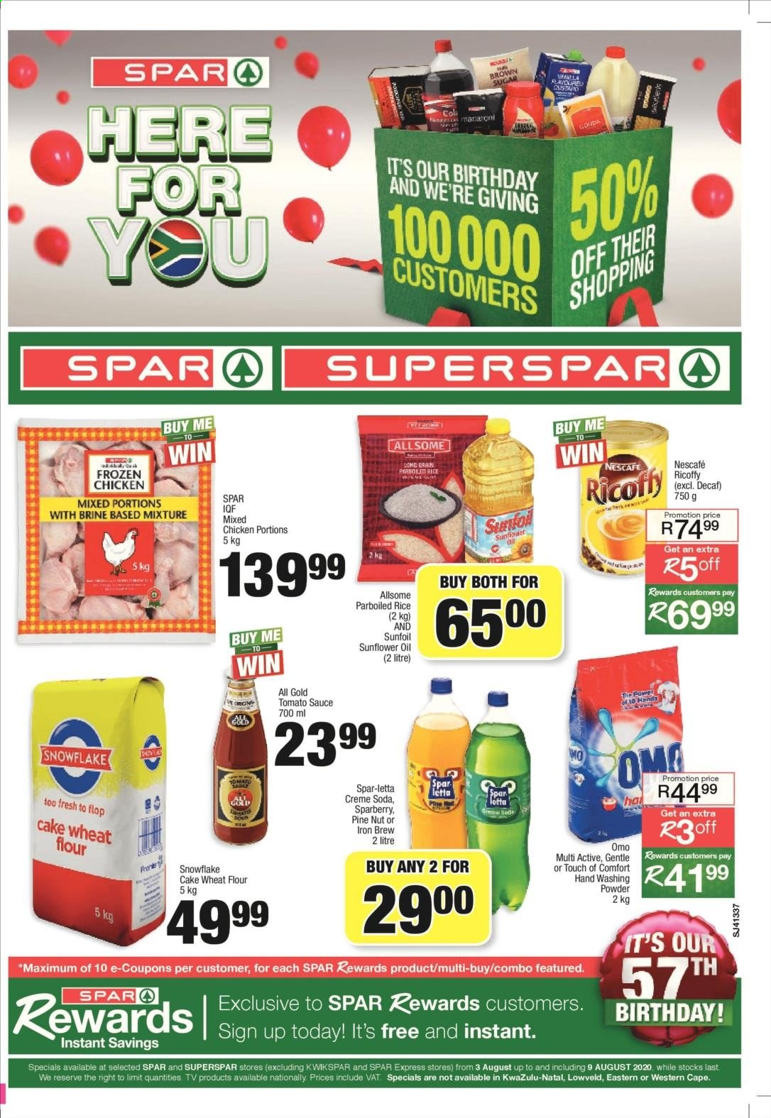 SPAR catalogue  - 08.03.2020 - 08.09.2020 - Sales products - crème, flour, rice, snowflake, sunflower oil, tomato sauce, wheat flour, iron, pine, chicken, soda, ricoffy, sauce, omo, sunflower, nescafé, washing powder, parboiled rice, cake wheat flour, tomato. Page 1.
