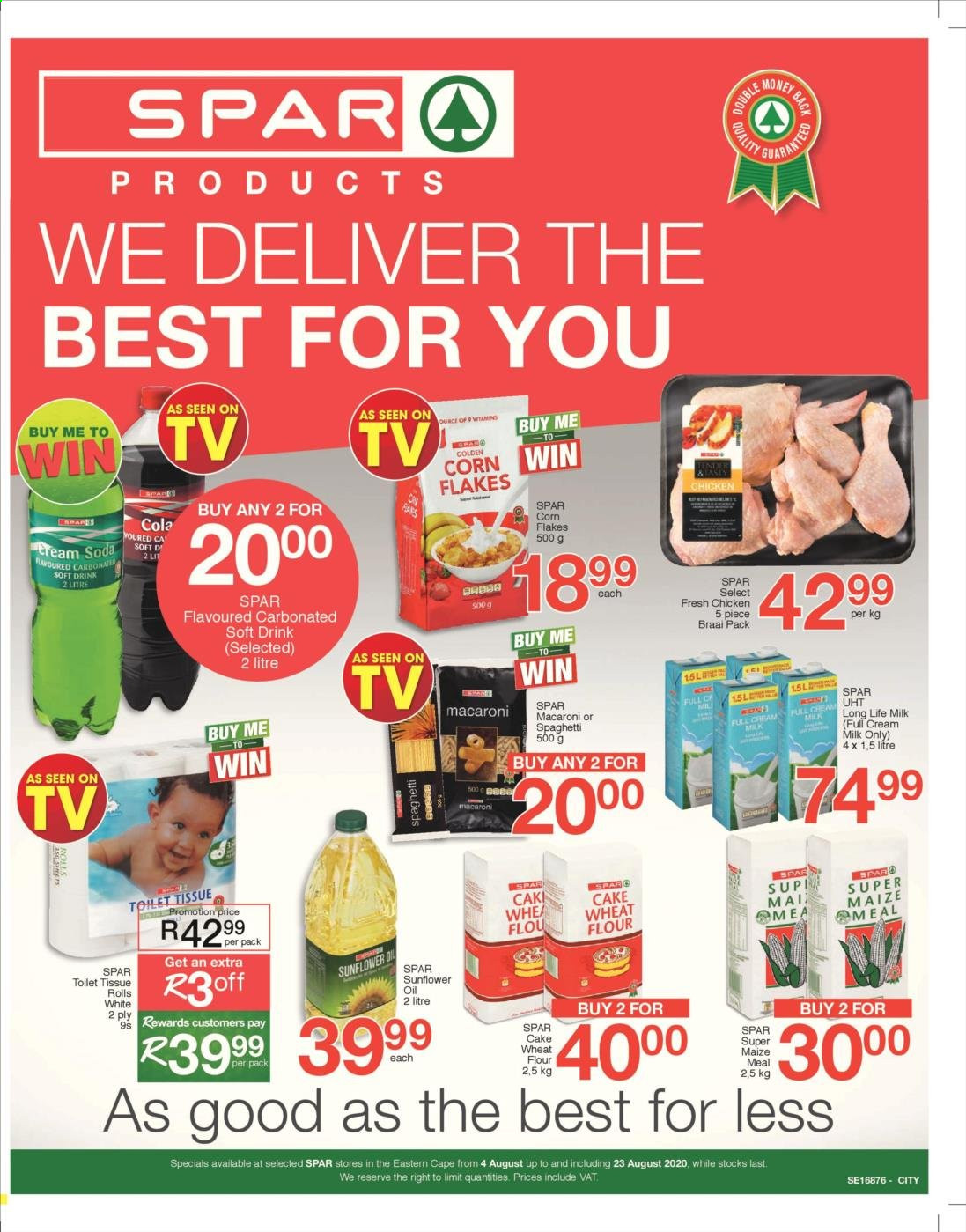 SPAR catalogue  - 08.04.2020 - 08.23.2020 - Sales products - corn, cream, flour, milk, spaghetti, sunflower oil, wheat flour, chicken, soda, macaroni, corn flakes, flakes, toilet tissue, drink, sunflower, rolls, cake wheat flour, long life milk, carbonated soft drink, soft drink. Page 1.