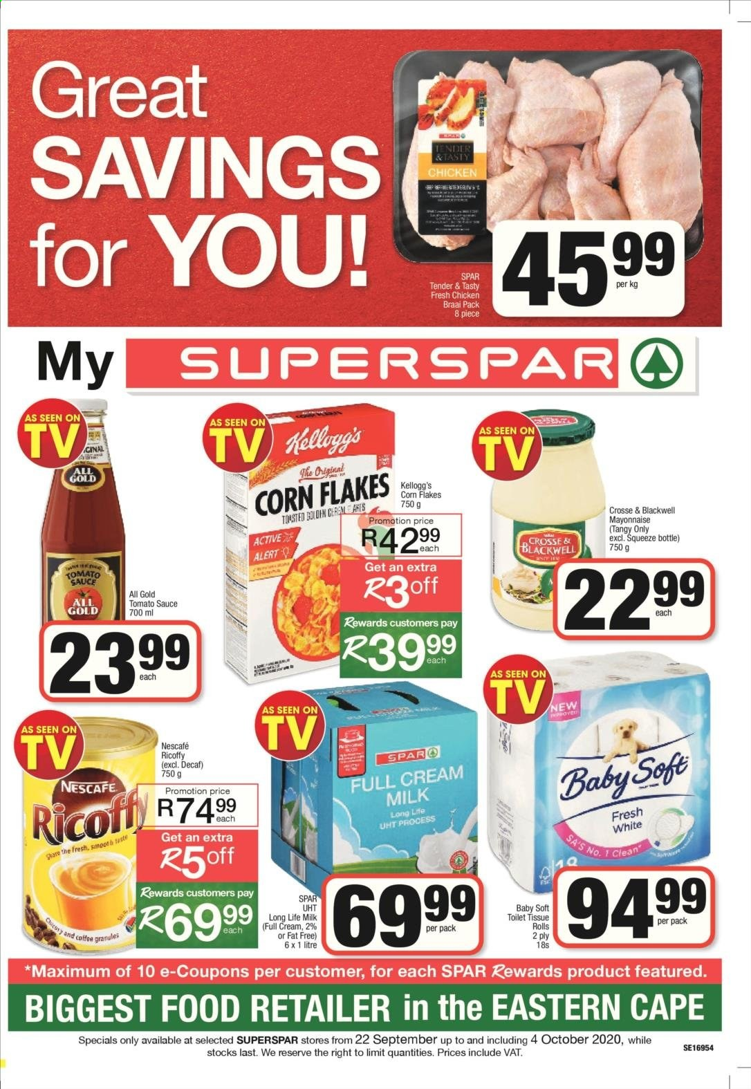 SPAR catalogue  - 09.22.2020 - 10.04.2020 - Sales products - coffee, corn, cream, mayonnaise, milk, tomato sauce, chicken, corn flakes, ricoffy, sauce, flakes, toilet tissue, rolls, nescafé, long life milk, tomato, alert. Page 1.