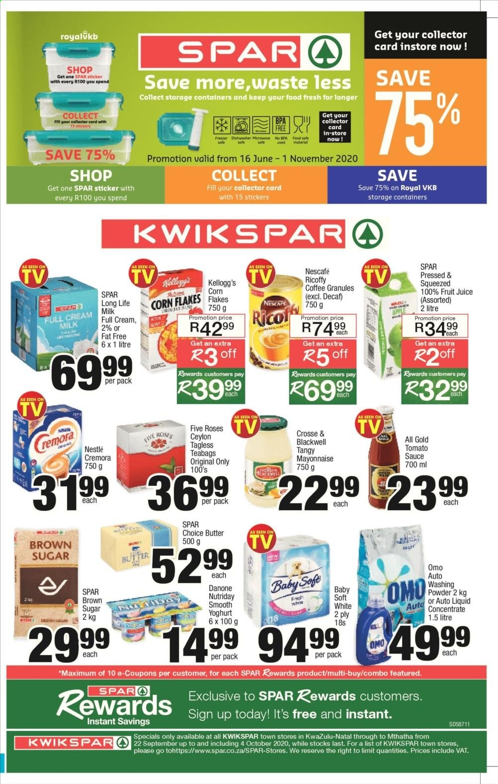 SPAR catalogue  - 09.22.2020 - 10.04.2020 - Sales products - brown sugar, butter, coffee, corn, cream, dishwasher, freezer, mayonnaise, microwave oven, milk, nestlé, stickers, sugar, tomato sauce, roses, yoghurt, danone, corn flakes, fruit juice, ricoffy, cremora, teabags, juice, sauce, flakes, omo, safe, nescafé, washing powder, long life milk, microwave, sticker, storage container, tomato, teabag. Page 1.