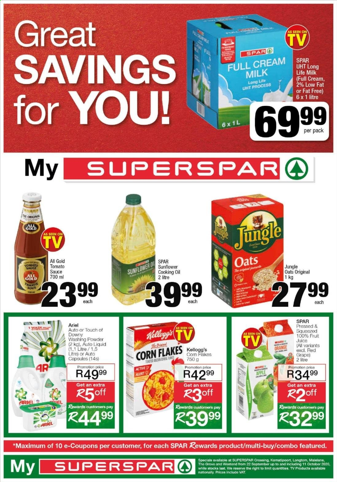 SPAR catalogue  - 09.22.2020 - 10.11.2020 - Sales products - apple, capsules, corn, cream, downy, milk, tomato sauce, oats, corn flakes, fruit juice, ariel, juice, sauce, flakes, sunflower, oil, orange, washing powder, long life milk, tomato, apples, alert. Page 1.
