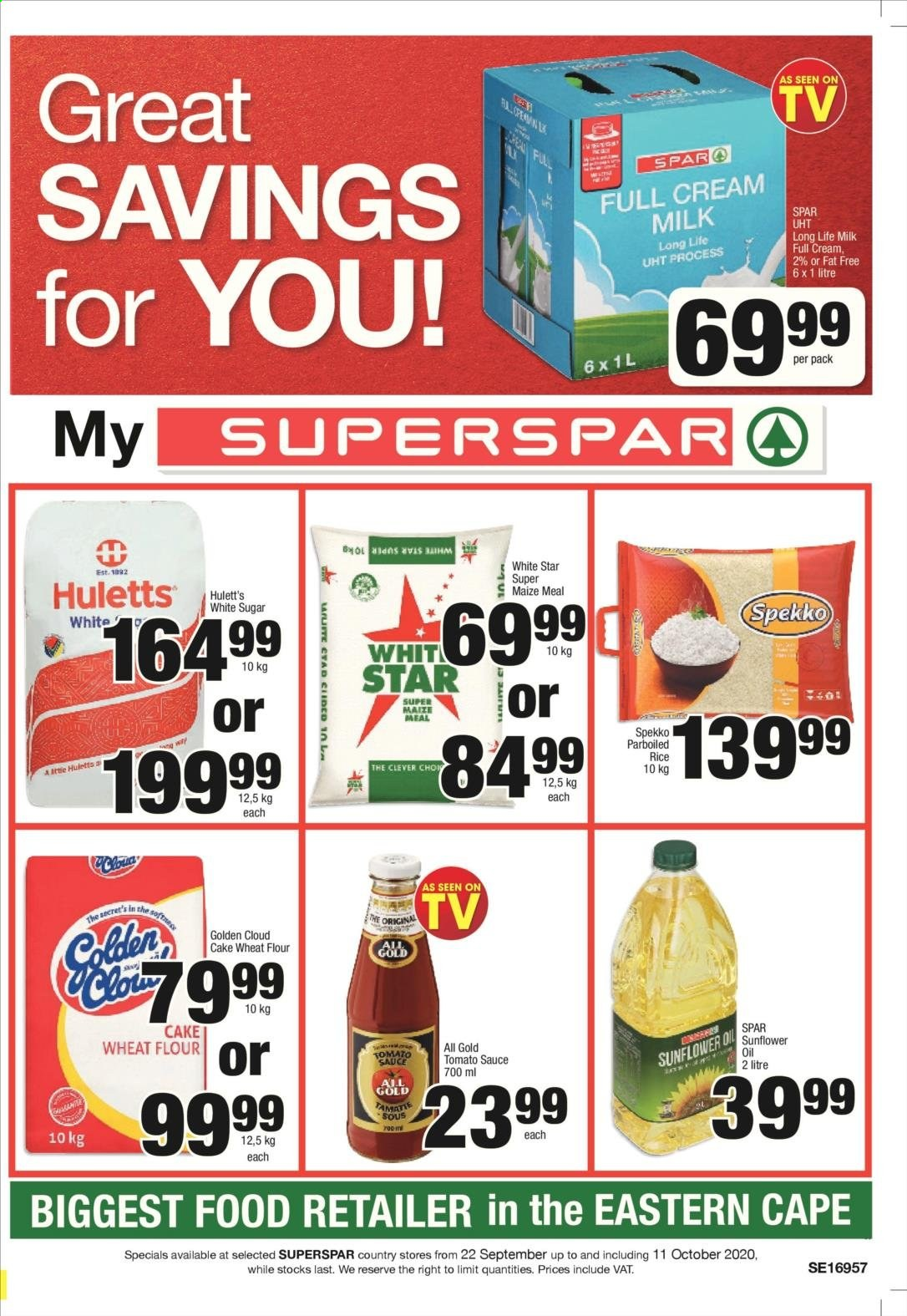 SPAR catalogue  - 09.22.2020 - 10.11.2020 - Sales products - cream, flour, milk, rice, secret, sugar, sunflower oil, tomato sauce, wheat flour, sauce, sunflower, parboiled rice, cake wheat flour, long life milk, tomato. Page 1.