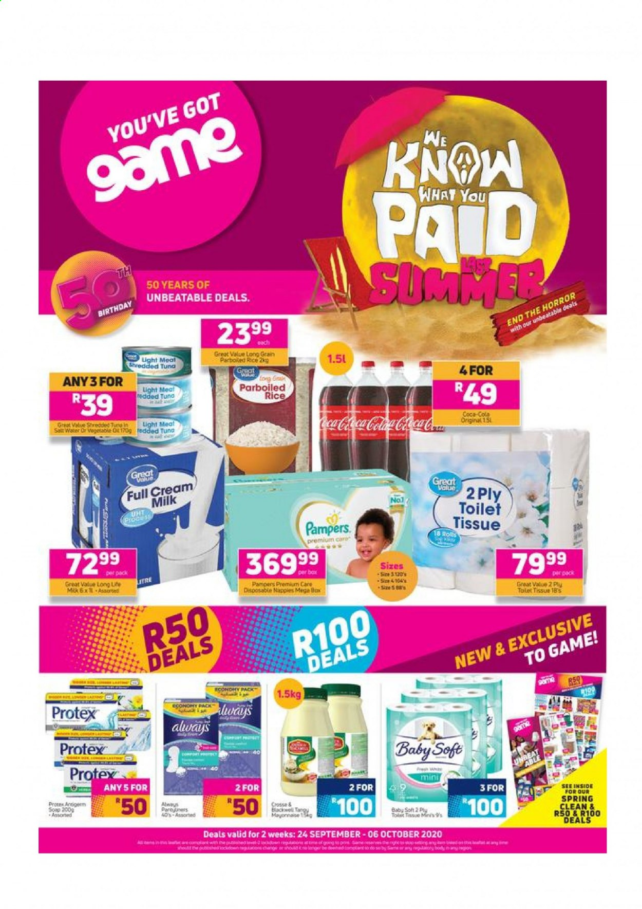 Game catalogue  - 09.24.2020 - 10.06.2020 - Sales products - coca-cola, cream, gin, mayonnaise, milk, rice, tuna, pampers, vegetable, game, toilet tissue, meat, parboiled rice, always, spring. Page 1.