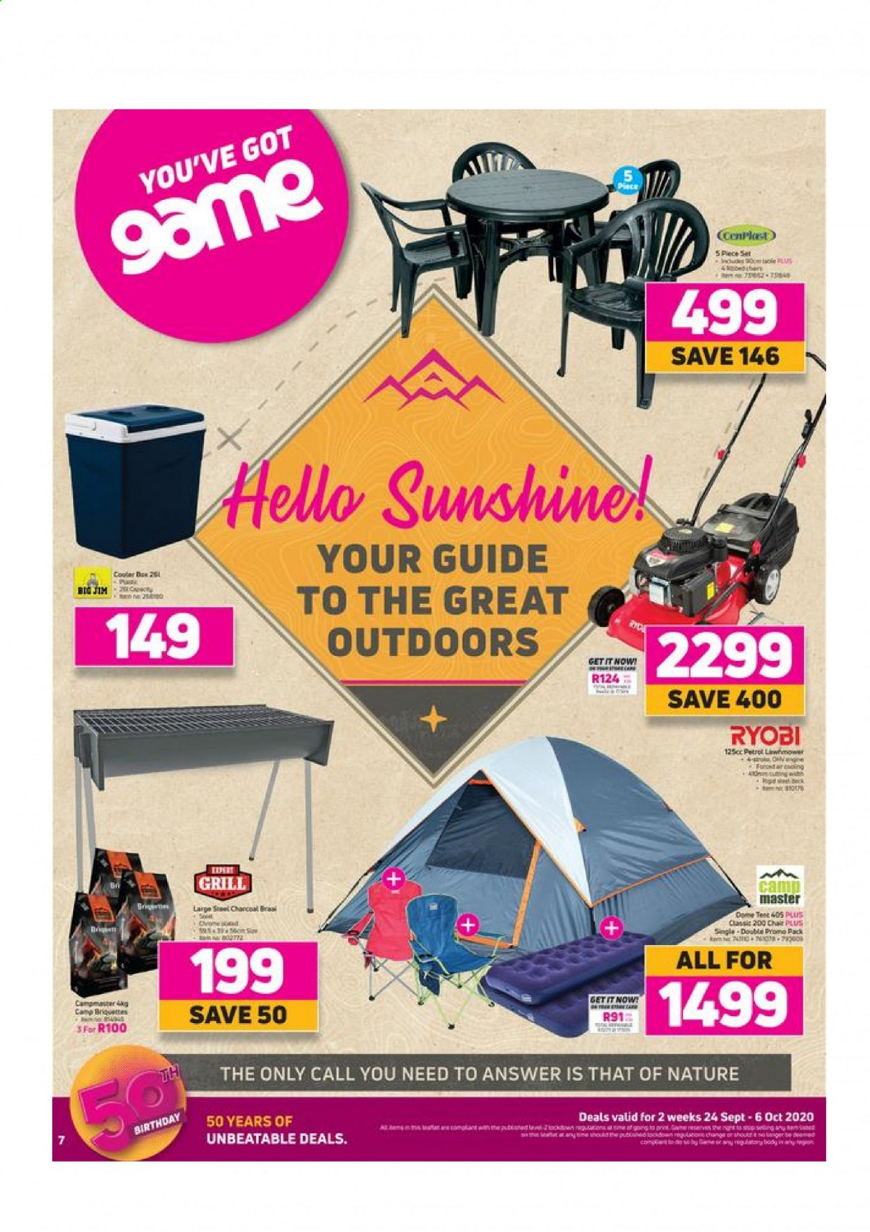 Game catalogue  - 09.24.2020 - 10.06.2020 - Sales products - grill, table, tent, chair, briquettes. Page 1.