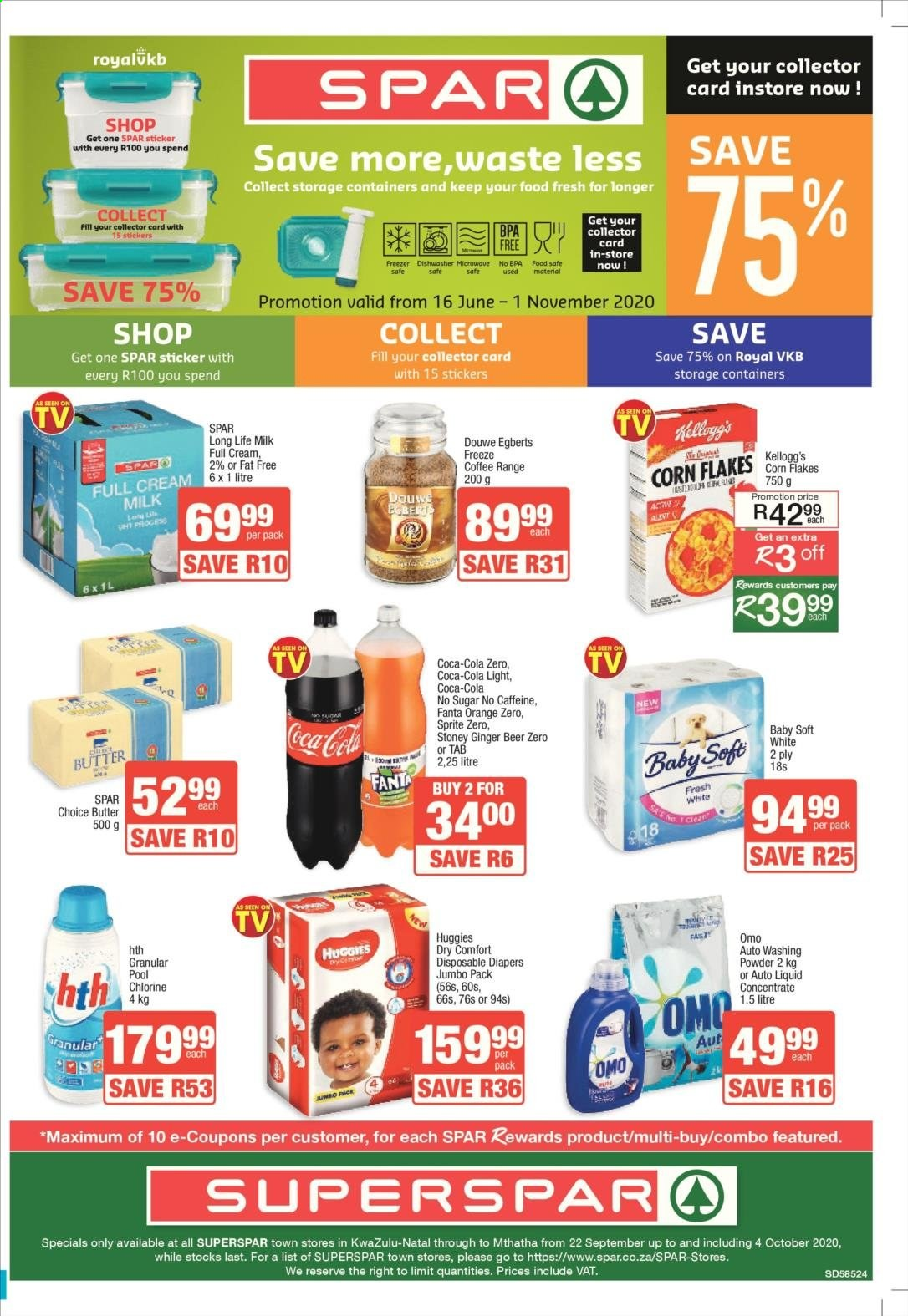 SPAR catalogue  - 09.22.2020 - 10.04.2020 - Sales products - beer, butter, coca-cola, coffee, corn, cream, dishwasher, freezer, ginger, microwave oven, milk, rack, sprite, stickers, sugar, huggies, coca-cola light, fanta, corn flakes, pool, douwe egberts, flakes, omo, safe, orange, diapers, washing powder, ginger beer, long life milk, microwave, sticker, storage container. Page 1.