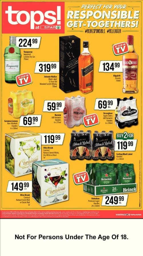 TOPS at SPAR catalogue  - 09.28.2020 - 10.02.2020 - Sales products - apple, brandy, heineken, apples. Page 1.