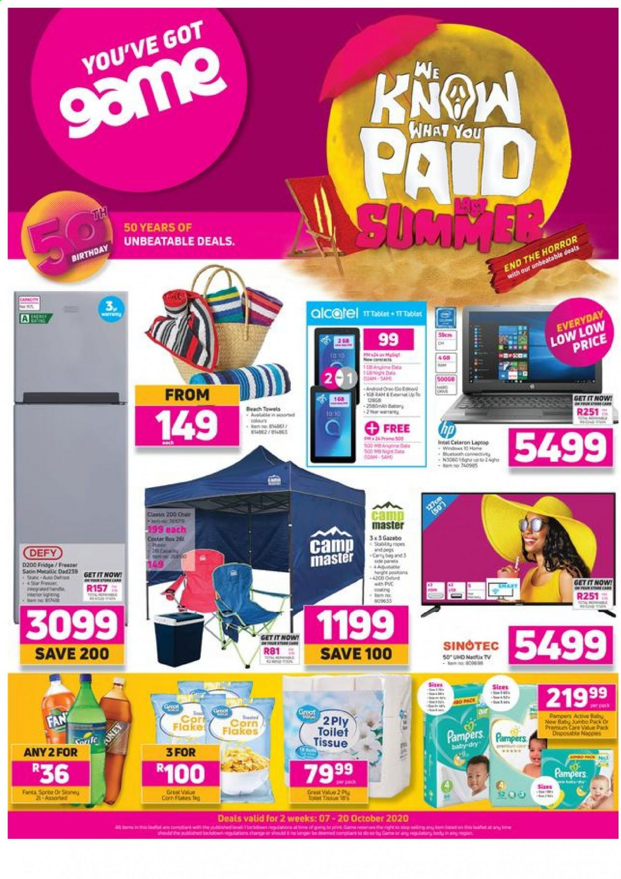 Game catalogue  - 10.07.2020 - 10.20.2020 - Sales products - corn, gin, fridge, tablet, chair, pampers, cooler, corn flakes, car, fan, flakes, toilet tissue, refrigerator. Page 1.