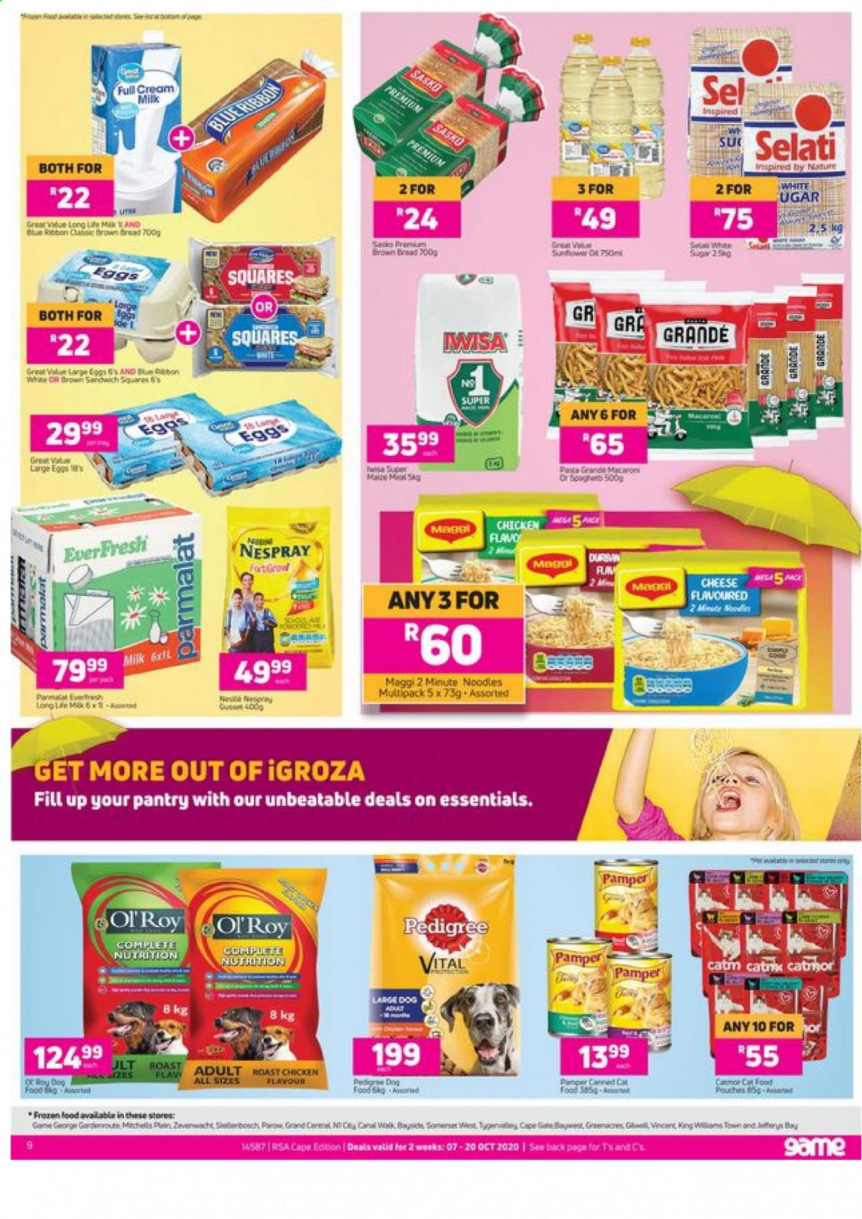 Game catalogue  - 10.07.2020 - 10.20.2020 - Sales products - bread, cat food, cream, dog food, eggs, gra, grand, milk, sugar, chicken, noodles, macaroni, pasta, game, cheese, maggi, ribbon, roast, essentials. Page 1.