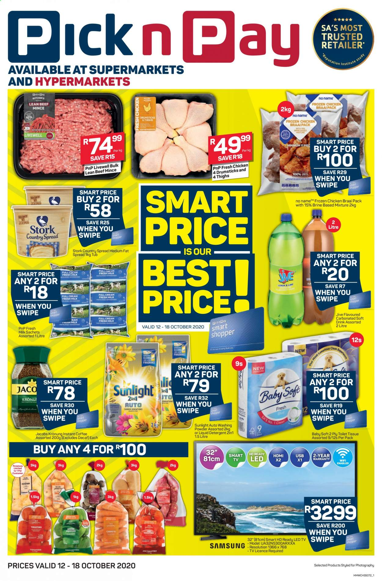 Pick n Pay catalogue  - 10.12.2020 - 10.18.2020 - Sales products - beef meat, detergent, led tv, milk, smart tv, wifi, hd ready, hdmi, instant coffee, potatoes, chicken, fat spread, jacobs, toilet tissue, drink, liquid detergent, washing powder, usb, carbonated soft drink, soft drink, led. Page 1.