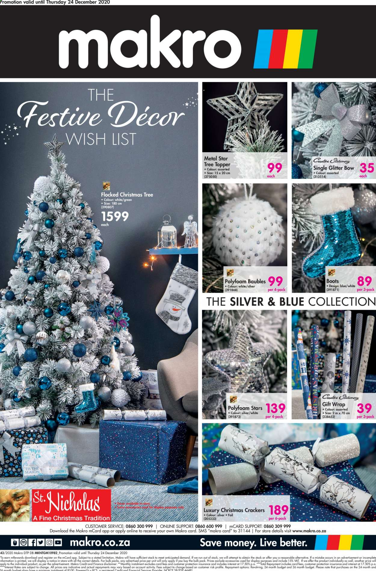 Makro catalogue  - 10.18.2020 - 12.24.2020 - Sales products - boots, crackers, glitter, topper, tree topper, wrap, christmas tree, gift wrap, bow, christmas crackers, baubles. Page 1.