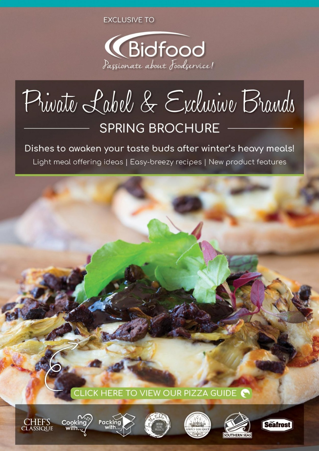 Bidfood catalogue  - Sales products - table, pizza, spring. Page 1.