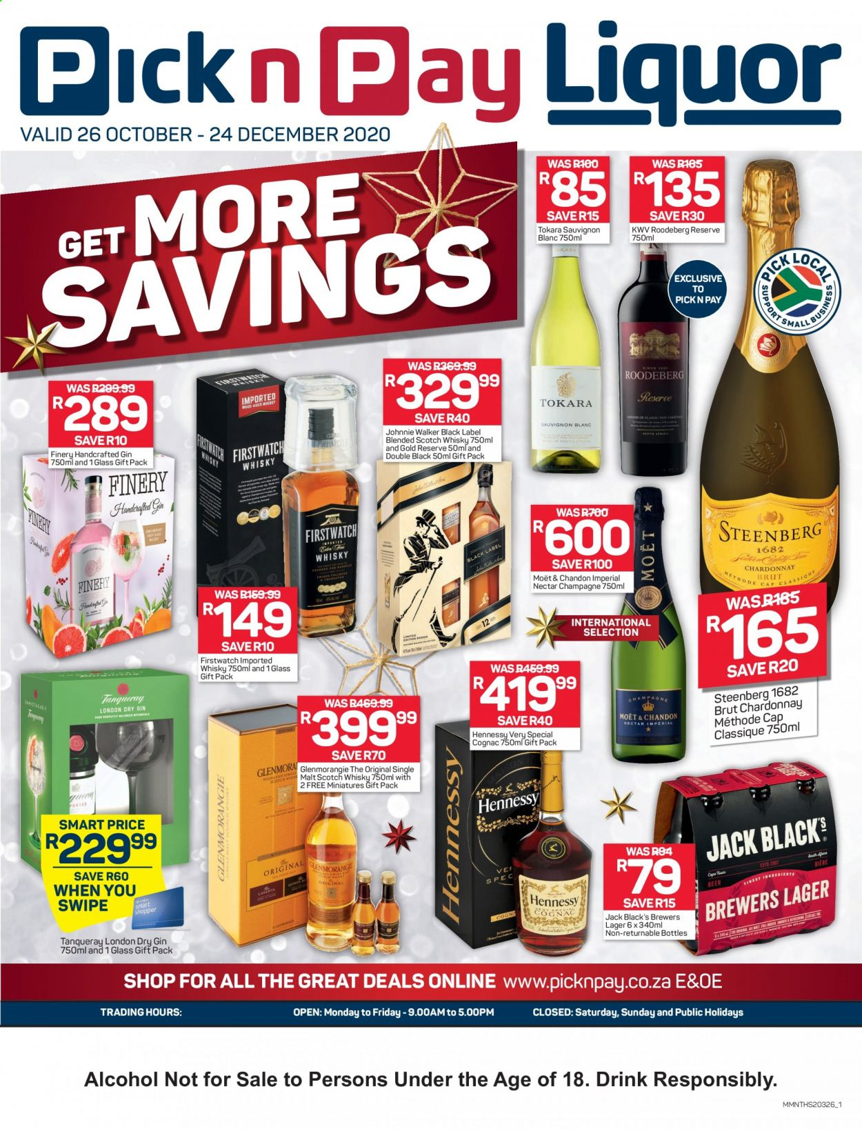 Pick n Pay catalogue  - 10.26.2020 - 12.24.2020 - Sales products - cognac, gin, whisky, champagne, drink, hennessy, moët & chandon, sauvignon, brewers. Page 1.