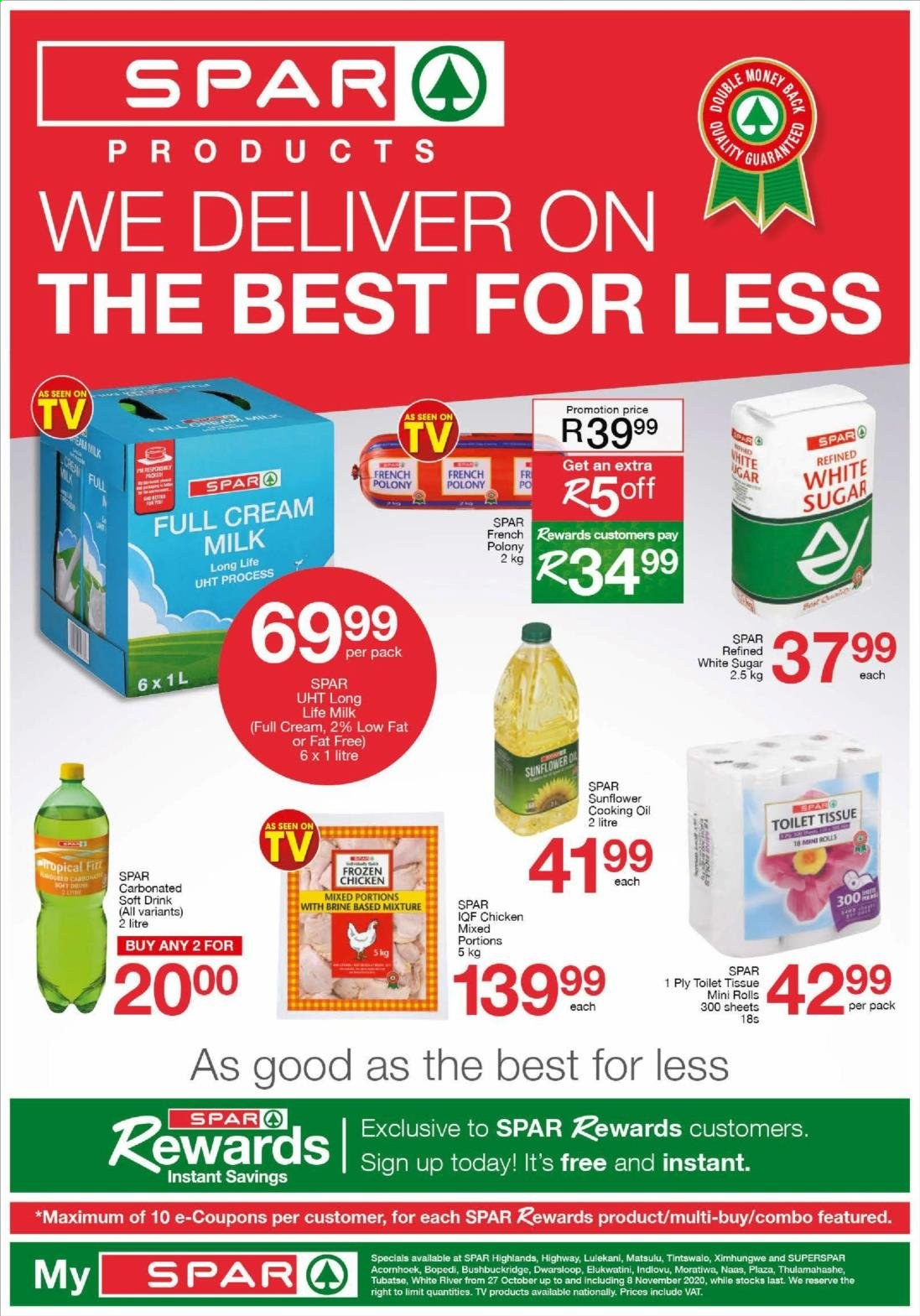 SPAR catalogue  - 10.27.2020 - 11.08.2020 - Sales products - cream, milk, sugar, chicken, toilet tissue, drink, sunflower, rolls, oil, long life milk, carbonated soft drink, soft drink. Page 1.