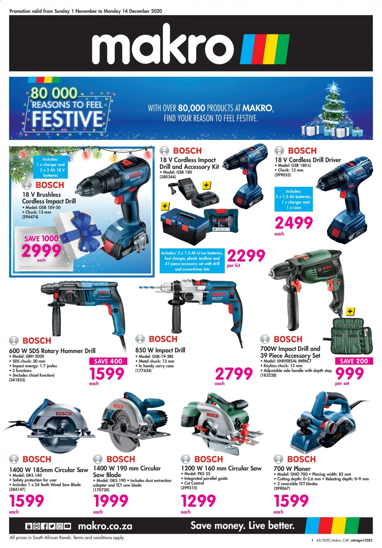 Makro catalogue  - 11.01.2020 - 12.14.2020 - Sales products - batteries, battery, cap, drill, screwdriver, screwdriver bits, charger, hammer, circular saw, blade, saw, control. Page 1.