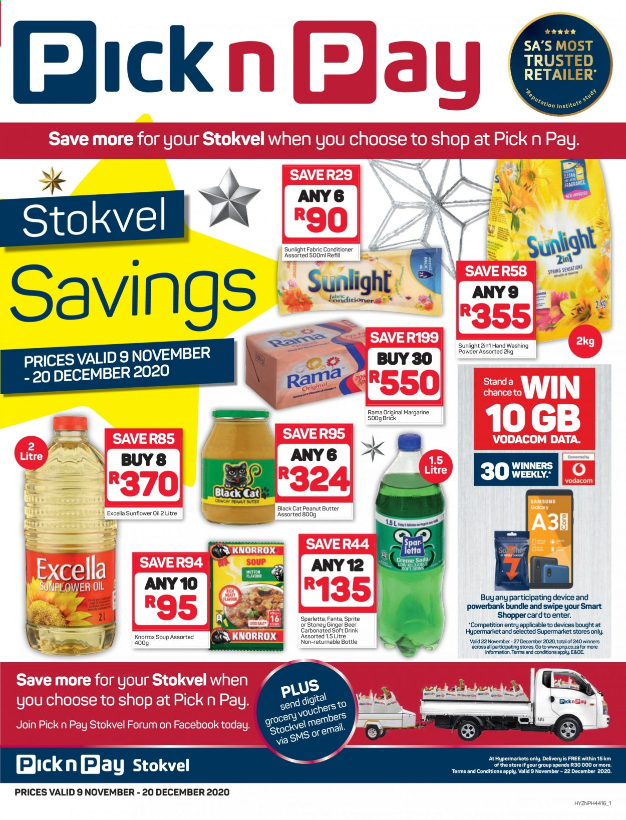 Pick n Pay catalogue  - 11.09.2020 - 12.20.2020 - Sales products - beer, conditioner, ginger, margarine, sprite, sunflower oil, powerbank, peanut butter, soup, fanta, rama, fabric conditioner, drink, refill, sunflower, washing powder, ginger beer, carbonated soft drink, soft drink. Page 1.