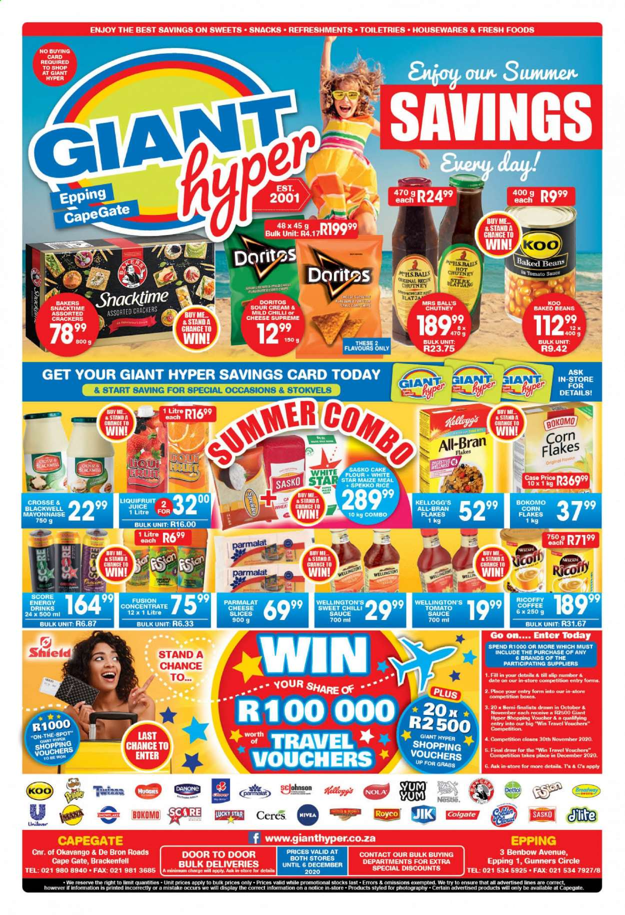Giant Hyper catalogue  - 11.17.2020 - 12.06.2020 - Sales products - beans, bran, coffee, corn, crackers, cream, doritos, colgate, flour, mayonnaise, nestlé, rice, shield, snowflake, sour cream, tomato sauce, huggies, pineapple, cheese slices, nivea, snack, danone, corn flakes, dettol, cheese, ricoffy, juice, sauce, flakes, cake, sweets, nescafé, snacktime, doors, tomato. Page 1.