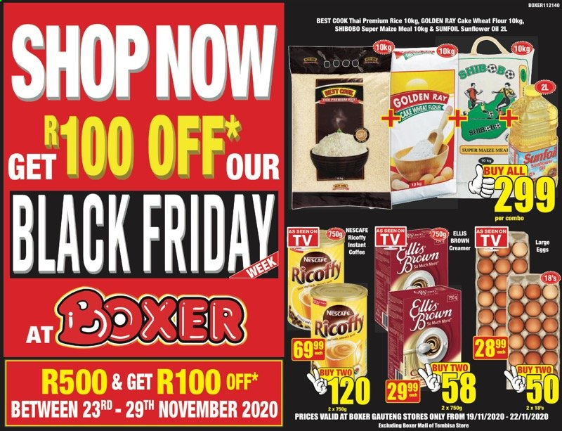 Boxer catalogue  - 11.19.2020 - 11.22.2020 - Sales products - eggs, flour, rice, sunflower oil, wheat flour, creamer, coffee creamer, ricoffy, sunflower, nescafé, cake wheat flour, black friday. Page 1.