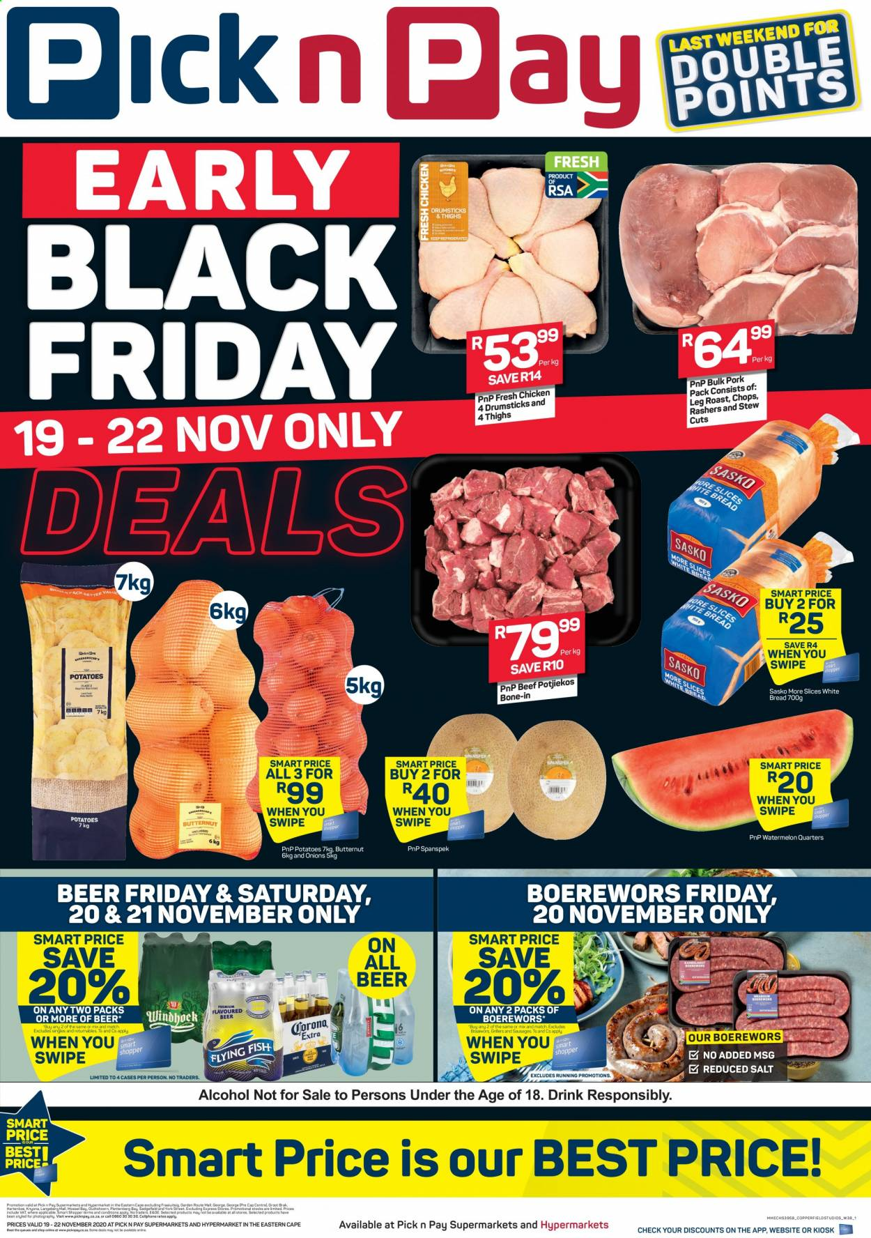 Pick n Pay catalogue  - 11.19.2020 - 11.22.2020 - Sales products - beef meat, beer, bread, butternut squash, cap, sausages, watermelon, white bread, potatoes, onions, salt, drink, cellphone, onion, roast. Page 1.