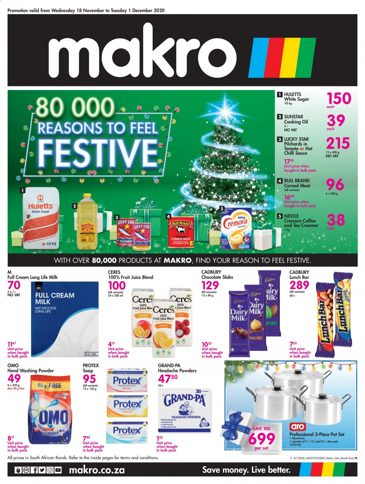 Makro catalogue  - 11.18.2020 - 12.01.2020 - Sales products - coffee, milk, Nestlé, sugar, tea, pot, chocolate, creamer, fruit juice, pilchards, Cremora, juice, sauce, Omo, chocolate slabs, corned meat, headache powders, oil, Meat, washing powder, long life milk. Page 1.