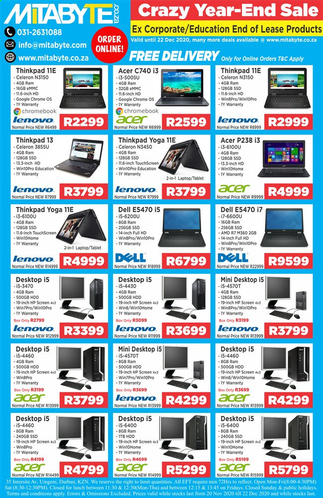 Mitabyte catalogue  - 11.20.2020 - 12.22.2020 - Sales products - acer, amd, dell, full hd, google, laptop, lenovo, tablet, hdd, hp, chromebook, ssd, desktop, touchscreen. Page 1.